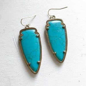 Kendra Scott Skylar Earrings Gold and Turquoise